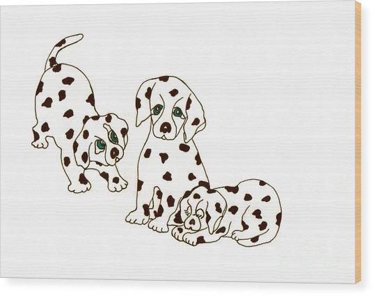 Dalmatian Puppies Wood Print