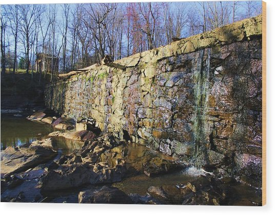 Dam On The River Haw Wood Print