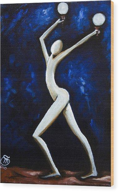 Dancer Of Light  Wood Print by Simona  Mereu