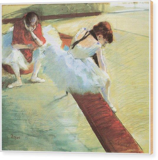 Dancers Resting Wood Print by Edgar Degas