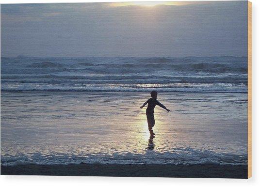 Dancing Boy At Sunset Wood Print