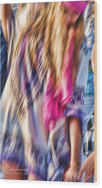 Dancing Hippie Wood Print
