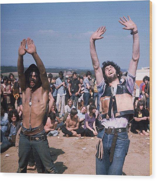 Dancing Hippies Wood Print by Keystone