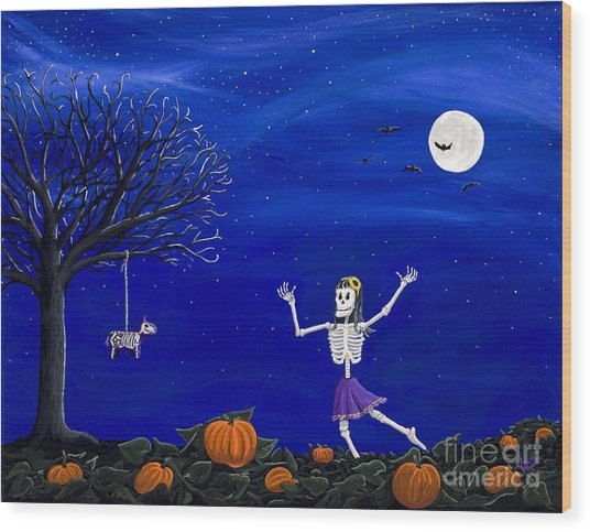 Dancing In The Pumpkin Patch  Wood Print