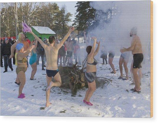 Dancing On The Snow Wood Print by Aleksandr Volkov