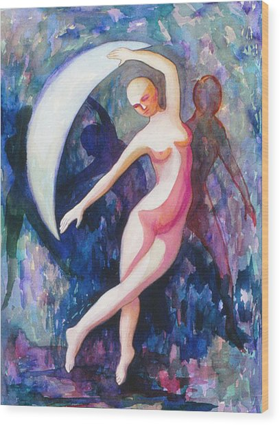 Dancing With The Moon Wood Print