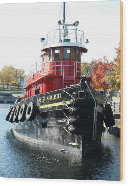 Daniel Mcallister Tug Boat Old Port Montreal Canada Wood Print by Rosie Brown