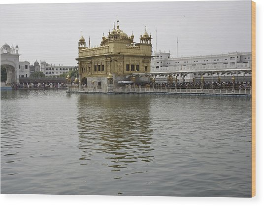 Darbar Sahib And Sarovar Inside The Golden Temple Wood Print