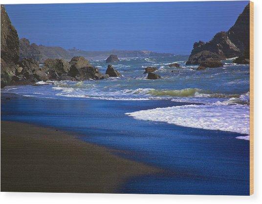 Dark Beach Wood Print