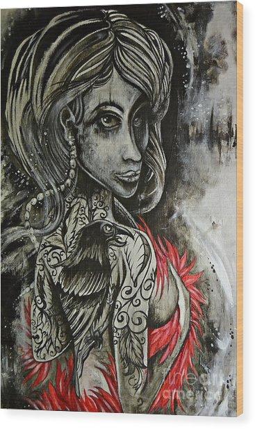 Dark Inked Icon Wood Print