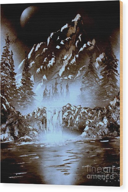 Dark Mountain Wood Print
