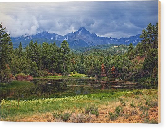 Dark Mountain Lake Wood Print
