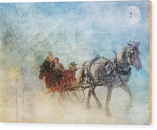 Dashing Through The Snow  Wood Print
