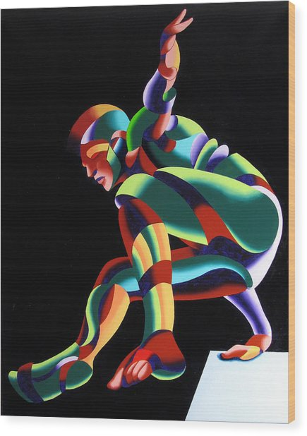 Dave 25-03 - Abstract Geometric Figurative Oil Painting Wood Print by Mark Webster