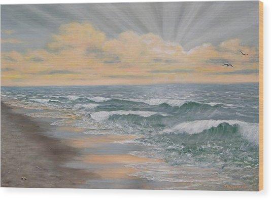 Dawn Surf Wood Print