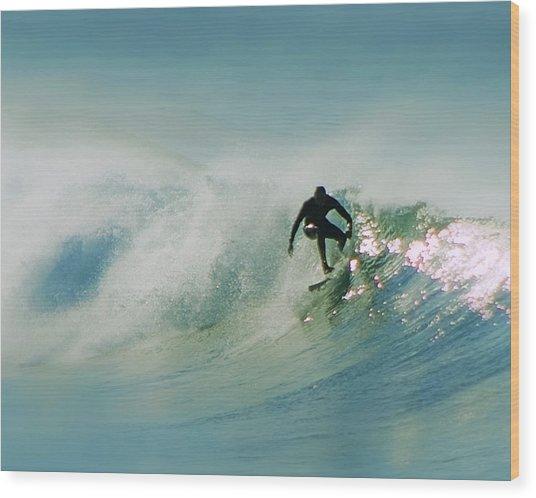 Dawn Surfer Wood Print by David Rearwin