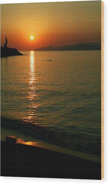 Dawn Swimmer Wood Print