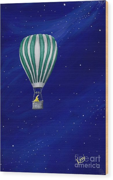 Daydreaming In A Hot Air Balloon Wood Print