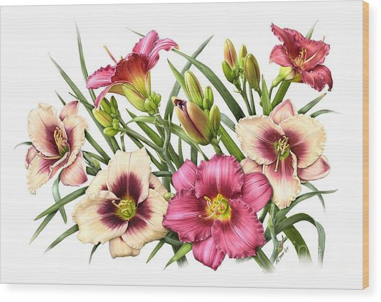 Daylily Bouquet - Rubies Wood Print