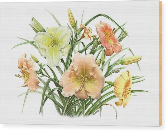Daylily Bouquet Wood Print