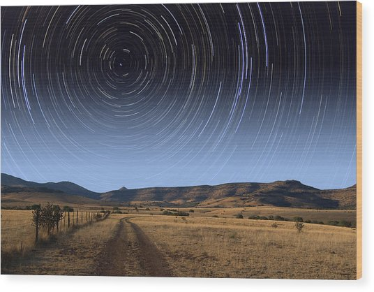 Daytime Startrails Wood Print