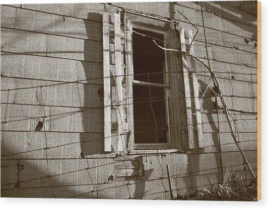 Dead Window Wood Print