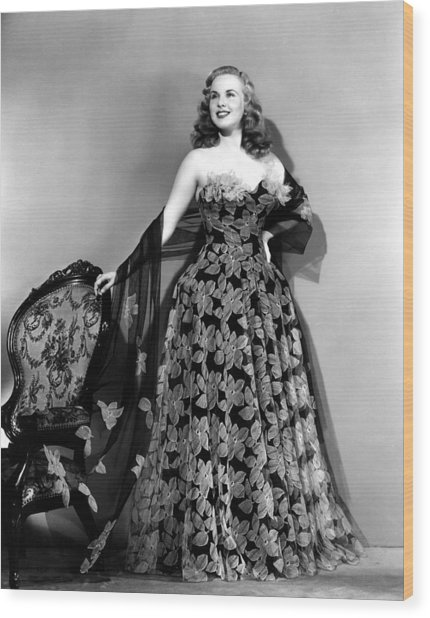 Deanna Durbin In Hoop Skirt Styled Lace Wood Print by Everett