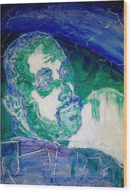 Death Metal Portrait In Blue And Green With Fu Man Chu Mustache And Cracking Textured Canvas Wood Print