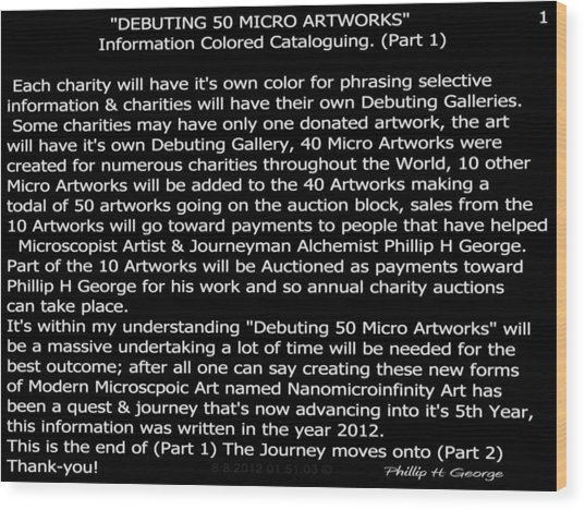 Debuting 50 Micro Artworks Part 1  Wood Print by Phillip H George