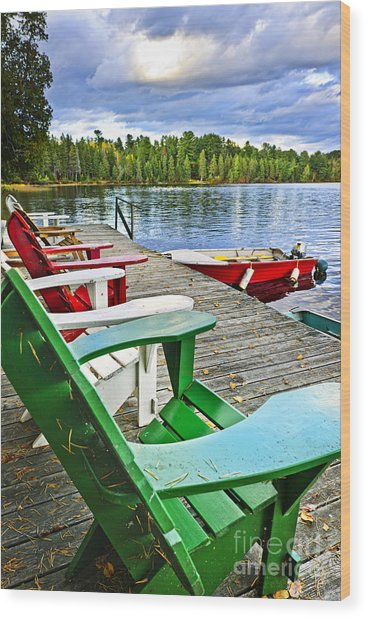 Deck Chairs On Dock At Lake Wood Print