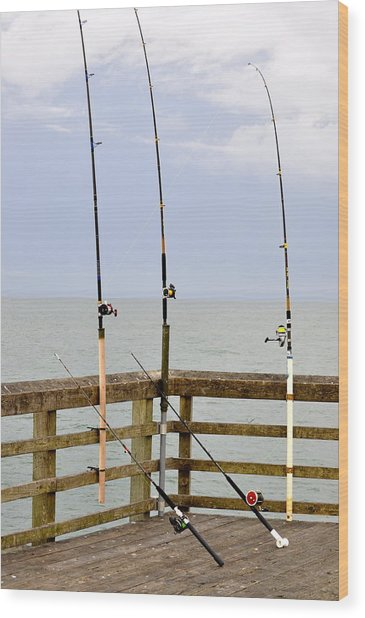 Wood Print featuring the photograph Deep Sea Fishing Off Of The Surf City Pier by Rosemary Legge