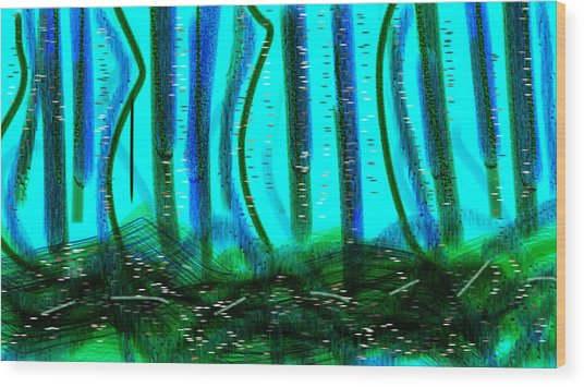 Deep Sea Wood Print by Rosana Ortiz