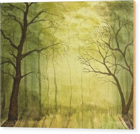 Deep Woods Wood Print by Heather Matthews