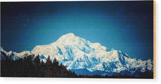 Denali In The Fall Wood Print