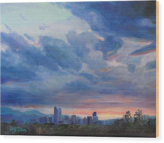 Denver Skyline At Sunset Wood Print
