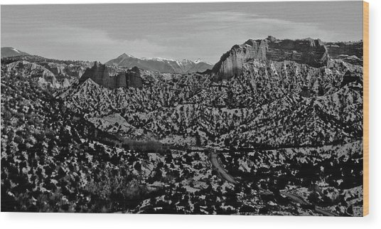 Desert And The Truchas Wood Print