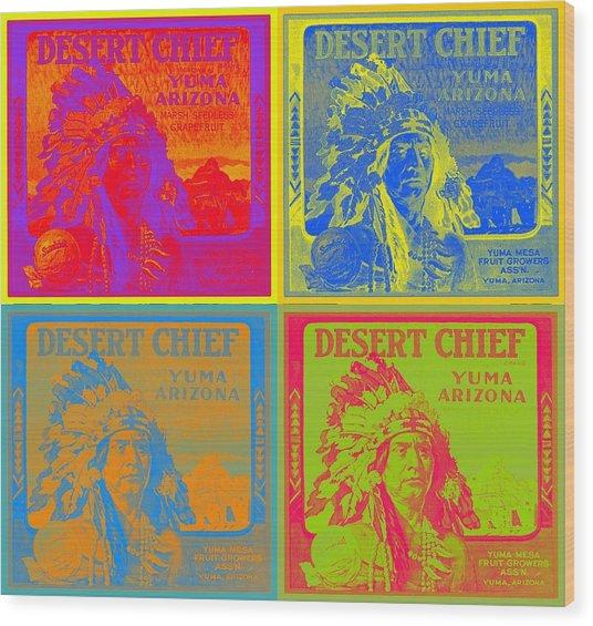 Desert Chief Cigar Box Label Wood Print by Dwayne  Graham