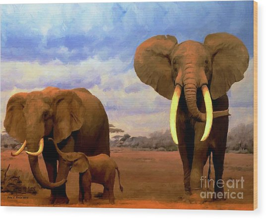 Desert Elephants Wood Print