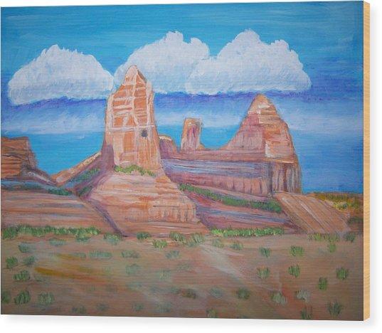 Desert Mountain Wood Print