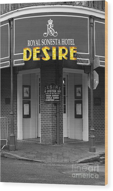 Desire Corner Bourbon Street French Quarter New Orleans Color Splash Black And White Digital Art  Wood Print