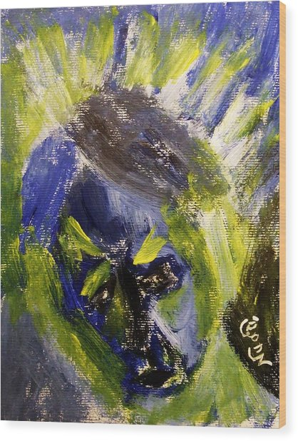 Despondent Expressionistic Portrait Figure In Blue And Yellow Religious Symbols Of Glory Bursting Wood Print