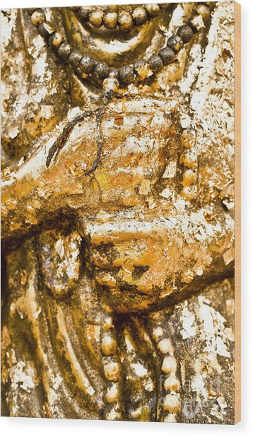 Details Of Golden Buddha Statue Wood Print by Chavalit Kamolthamanon