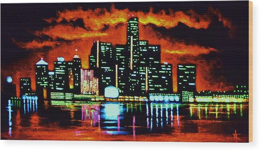 Detroit In Black Light Sold Wood Print