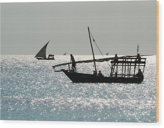 Dhows Wood Print by Alan Clifford