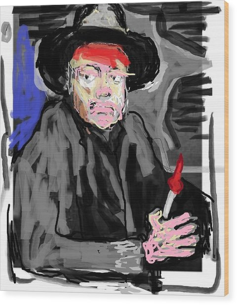 Diego R Painting Himself Wood Print by Jay Manne-Crusoe