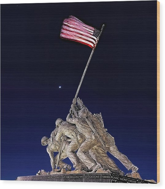 Digital Drawing - Iwo Jima Memorial At Dusk Wood Print