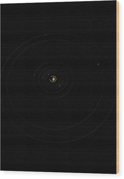 Digital Illustration Of Saturn And Its Moons Wood Print