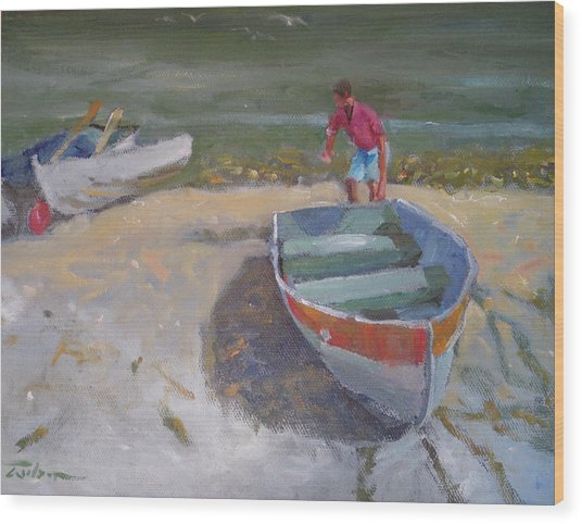 Dinghy Launch Wood Print by Ron Wilson