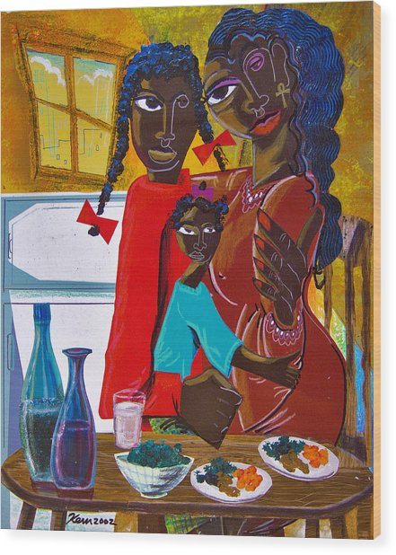 Dinner With Mom Wood Print by Kevin McDowell