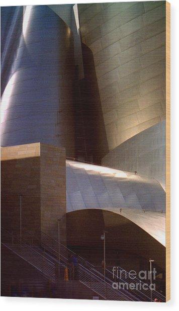 Disney Hall At Dusk Wood Print by Ron Javorsky